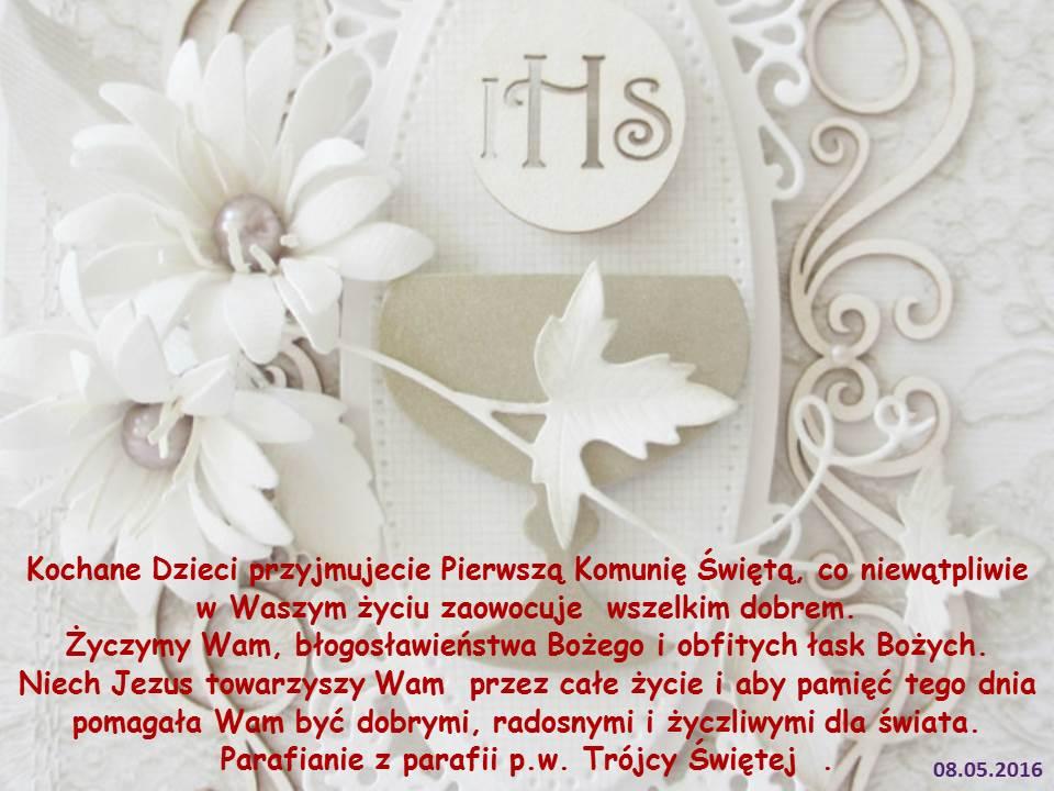 Życzenia od Parafian z okazji Pierwszej Komunii Świętej 08.05.2016