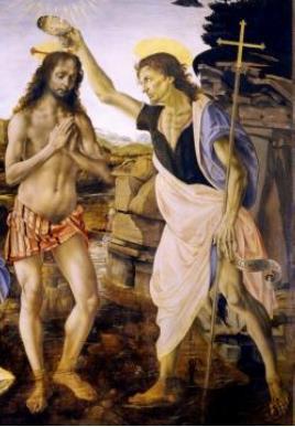 Sw. Jan Chrzciciel chrzci Pana Jezusa