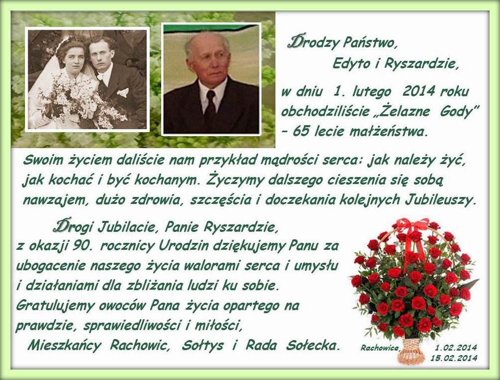 Kartka z życzeniami dla p.p. E.R. Urbanków