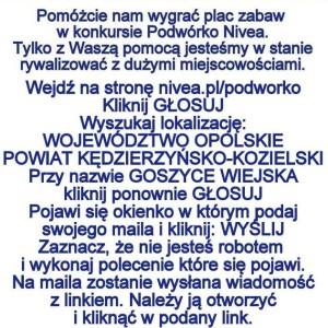 Plakat konkursu Nivea -tekst