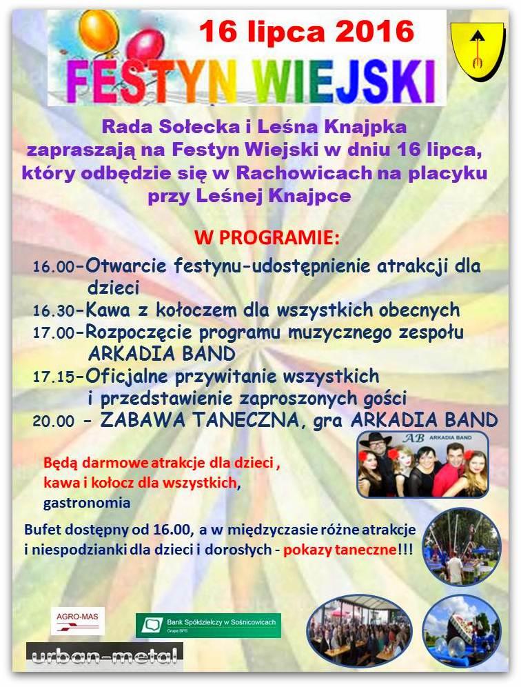 Plakat na Festyn Wiejski 2016 w postaci jpg